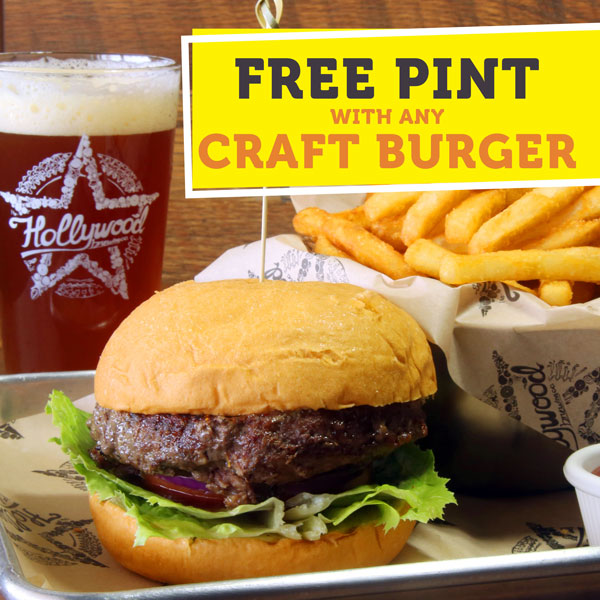 Free Pint with Burger at Hollywood Brewing Co.